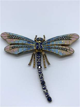 18kt Gold Enameled Diamond and Saphire Dragonfly Brooch