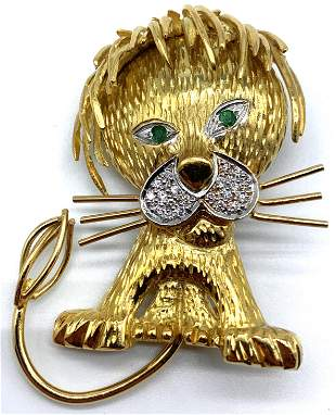 18kt Yellow Gold Diamond and Emerald Lion Brooch