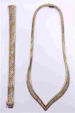 14kt Tri-Gold Necklace and Bracelet