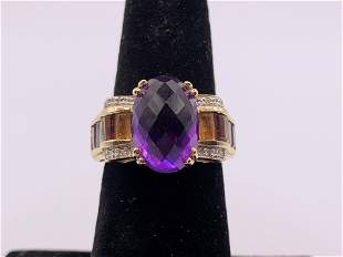 14kt Yellow Gold Amethyst and Multi Gemstone Ring