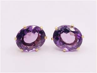 14kt Yellow Gold and Amethyst Earrings
