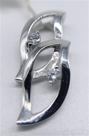 """18kt White Gold Multi Diamond """"Leaves"""" Pendant"""