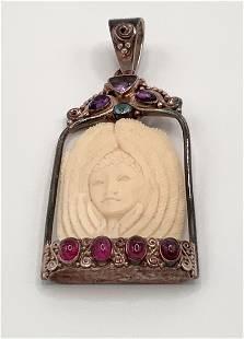 Sajen 925 carved goddess pendant large multi stone bone
