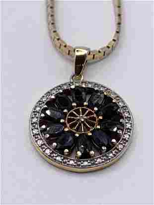 14 kt Gold Chain w/ 925 Silver Floral Pendant