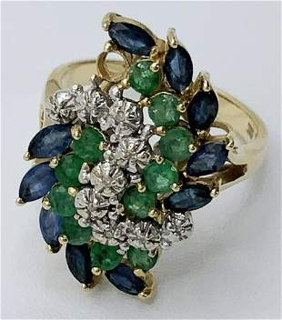 14kt Gold Sapphire and Emerald-like Gemstone Ring