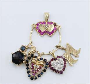 14kt Gold/ Multi Gemstone Pendant and Charms