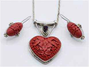 925 Silver and Cinnabar necklace/ earrings set