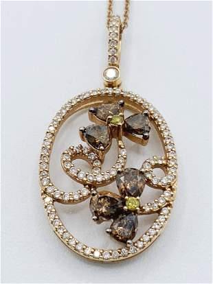 18kt Gold Citrine/Peridot/Diamond Necklace