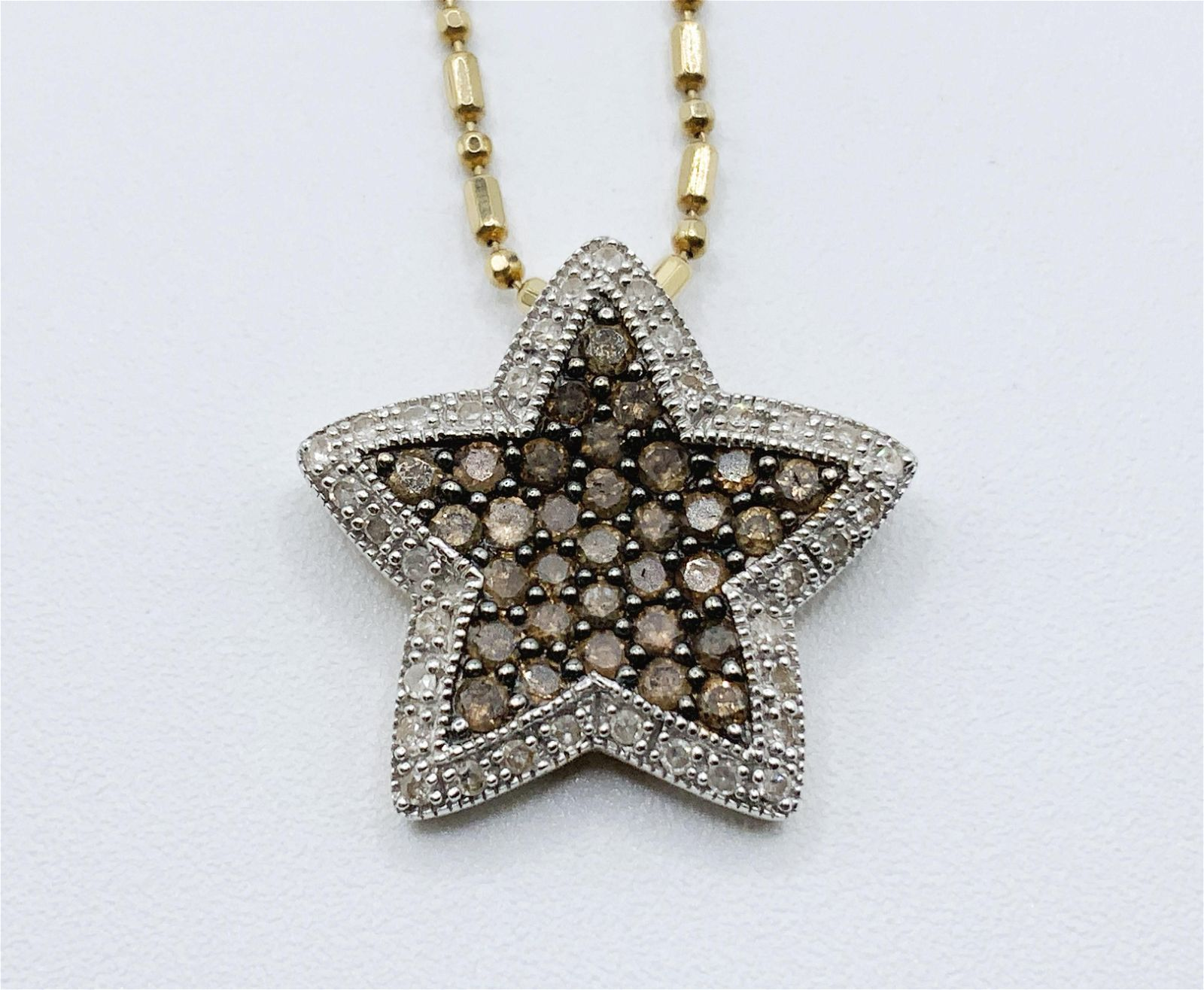 14kt Gold Multi Gemstone Star Pendant and Chain