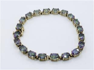 10k Gold Iridescent Stone Bracelet stamped JCR