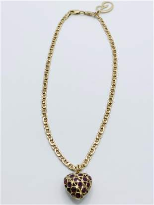 18kt YG Sapphire and Amethyst Heart Necklace