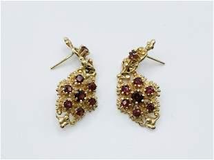 14k YG and Garnet Earrings