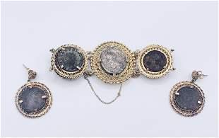 14kt Gold Filigree Coin Bracelet/ Earrings