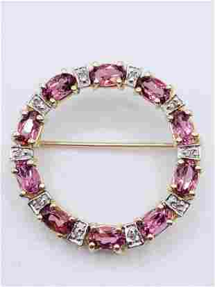 Circular Pink Tourmaline Brooch