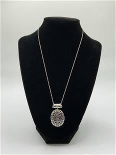925 Silver and Purple Agate Pendant/Chain