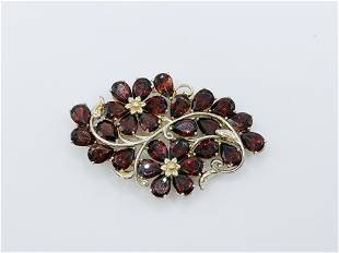 925 Silver and Garnet Floral Pendant