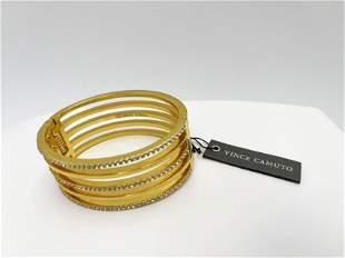 Vince Camuto Gold Tone and Crystal Bangle Bracelet