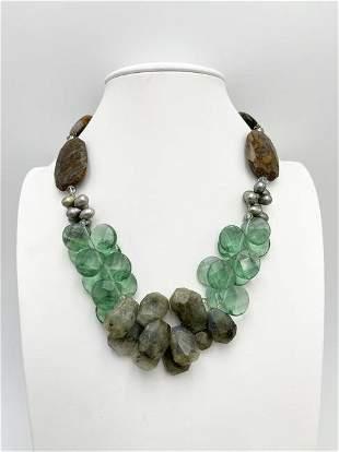 Labradorite and Jasper Chunky Vintage Beaded Necklace