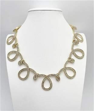 Graziano Gold Tone and Simulated Diamond Necklace