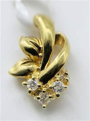 18kt Yellow Gold Multi Diamond Leaf Pendant