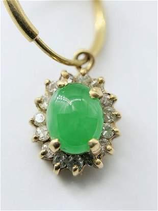 18kt Yellow Gold Jade and Diamond Pendant