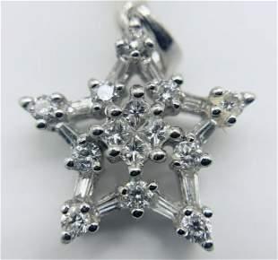 18kt White Gold Multi Diamond Star Pendant