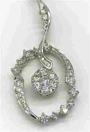 18kt White Gold Multi Diamond Pendant