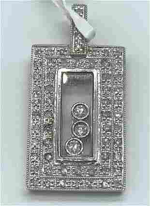 18kt White Gold Rectangular Multi Diamond Pendant
