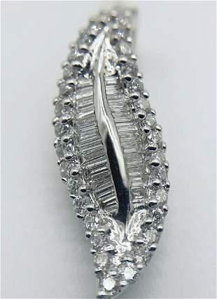 18kt White Gold Multi Diamond Leaf Pendant