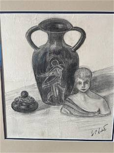 Framed Signed Charcoal Drawing