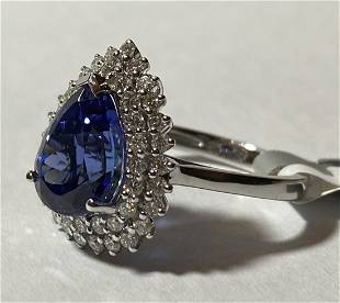 18K White Gold Ladies Tanzanite & Diamond Ring