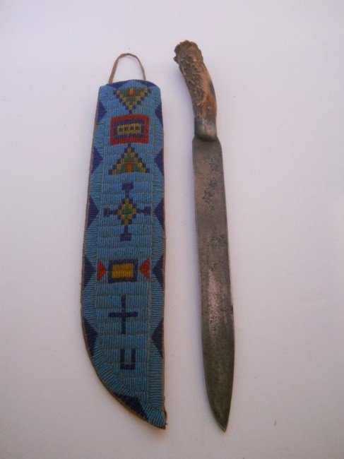 16:;LARGE BONE HANDLE , KNIFE 16 INCH, SEED BEADED CASE
