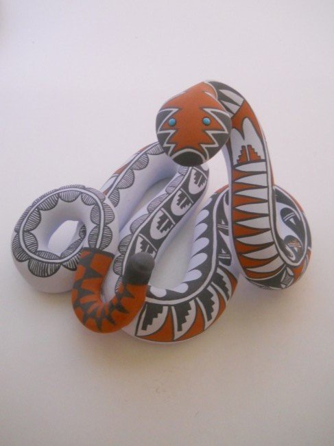 23: PAINTED CERAMIC SNAKE SIGNED MARY SMALL