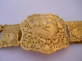 31: ASIAN 22K GOLD BELT DRAGON ETCHINGS