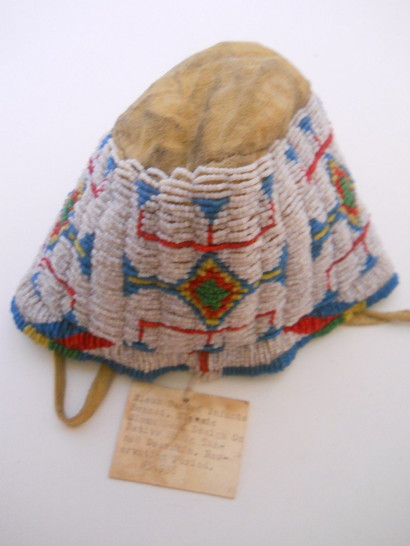 5: SEED BEADED SIOUX INFANT BONNET - 2