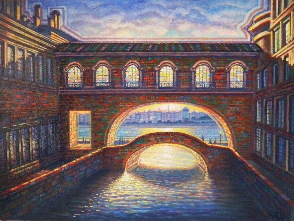 "133: RAFFI JACOBIAN, ""ST. PETERSBURG"" OIL PAINTING"