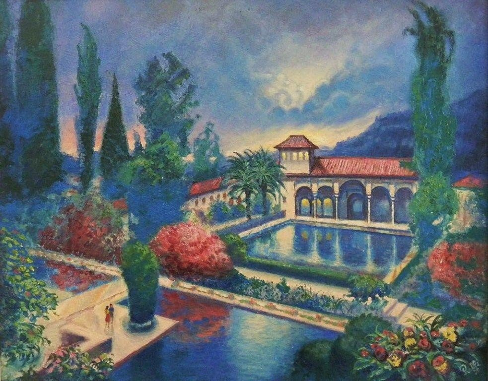 "135: RAFFI JACOBIAN ""THE ALHAMBRA"" OIL PAINTING"