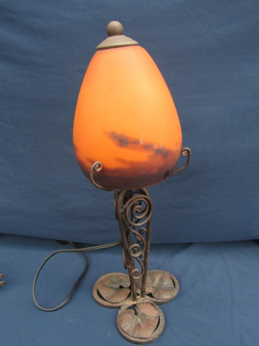 145: HAND PAINTED FRENCH LAMP SIGNED DEGUY CIRCA 1950