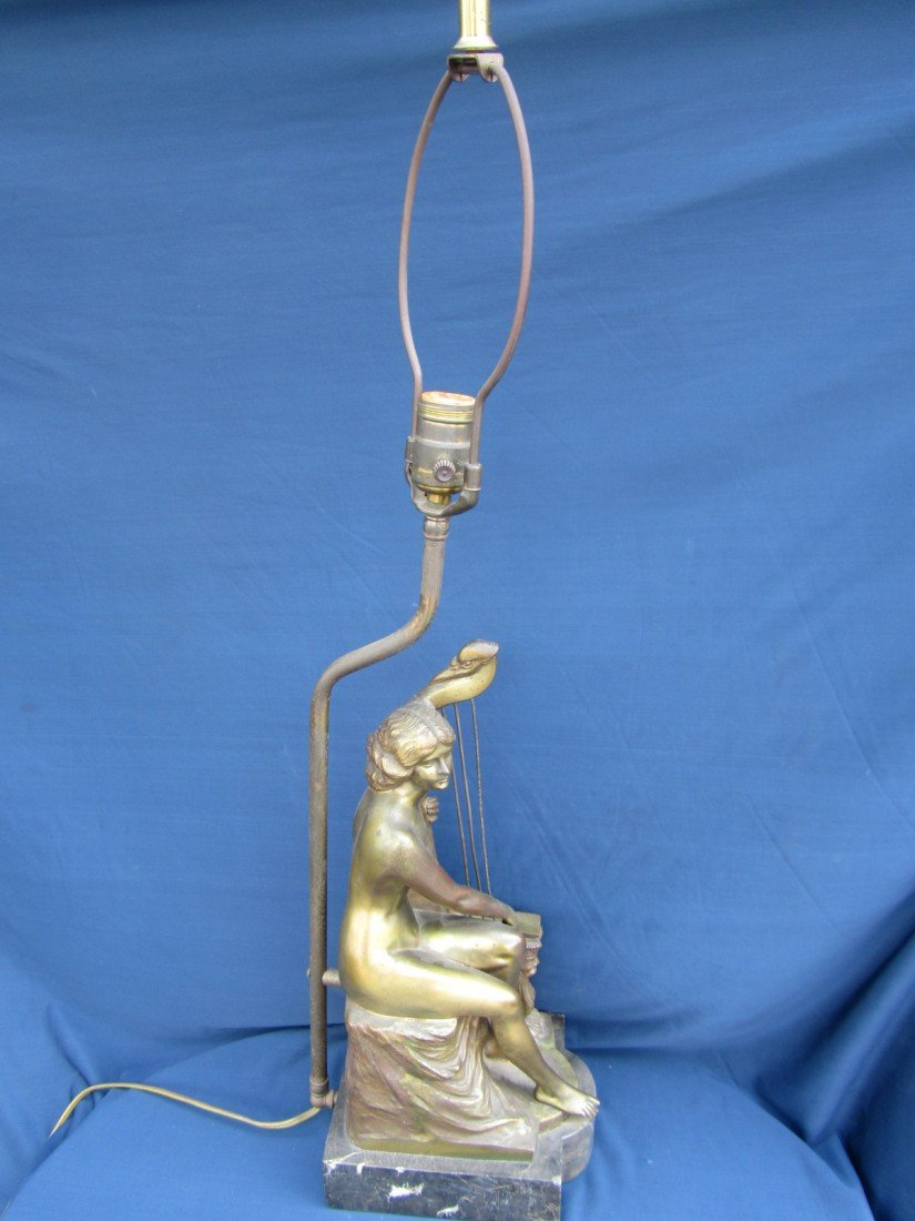 149: BRONZE NUDE WITH HARP LAMP