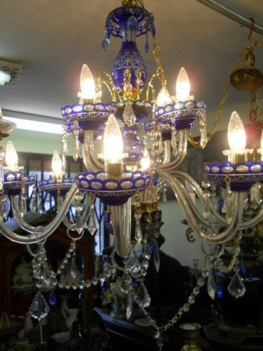 150: BOHEMIAN CHANDELIER BLUE GLASS