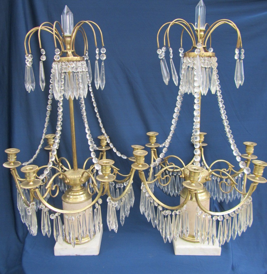 153:2 CRYSTAL FRENCH CANDELABRAS ,WHITE MARBLE BASED