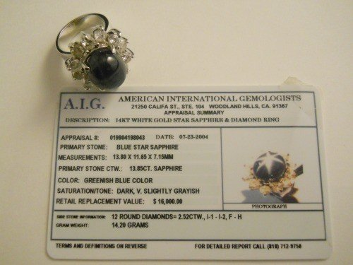 161: 14KT WHITE GOLD STAR SAPPHIRE AND DIAMOND RING - 7
