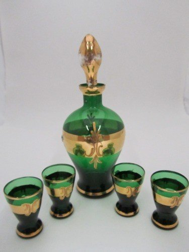 331: RAISED HAND PAINTED MOSER AND SHOT GLASS SET, 6pc