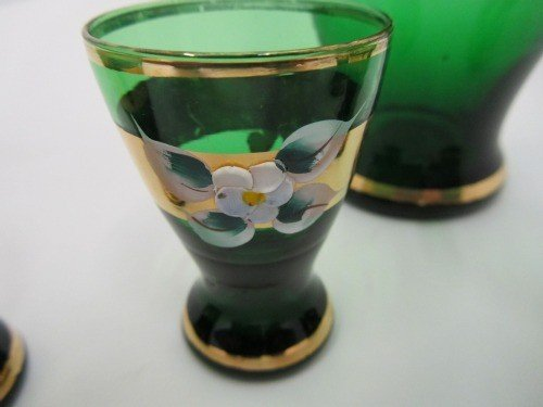 331: RAISED HAND PAINTED MOSER AND SHOT GLASS SET, 6pc - 2