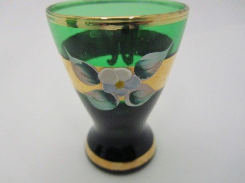 331: RAISED HAND PAINTED MOSER AND SHOT GLASS SET, 6pc - 3