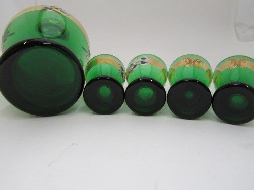 331: RAISED HAND PAINTED MOSER AND SHOT GLASS SET, 6pc - 6