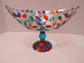 DUE ZETA OVAL CENTERPIECE FOOTED CRYSTAL BOWL