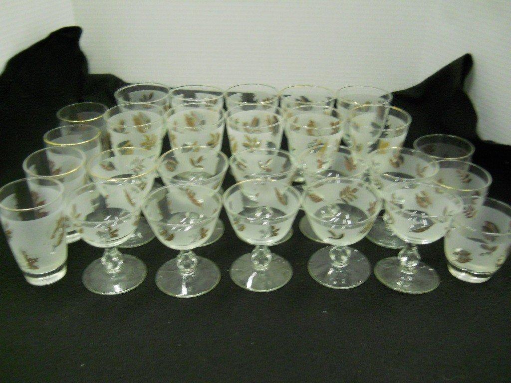 "468: GOLD LEAF GLASSWARE, 27 PC. SET ""LIBBEY GOLD FOLIA"