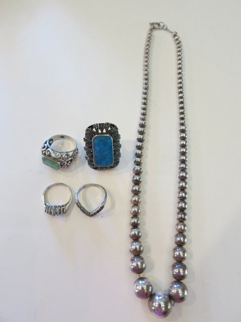14: STERLING SILVER,TURQUOISE,RINGS,MARCASITE,LOT
