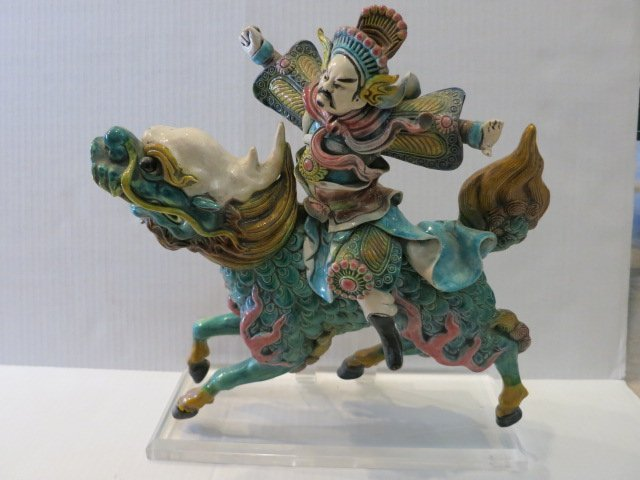 15: ORIENTAL CHINESE POLYCHROME DECORATED WARRIOR HORSE